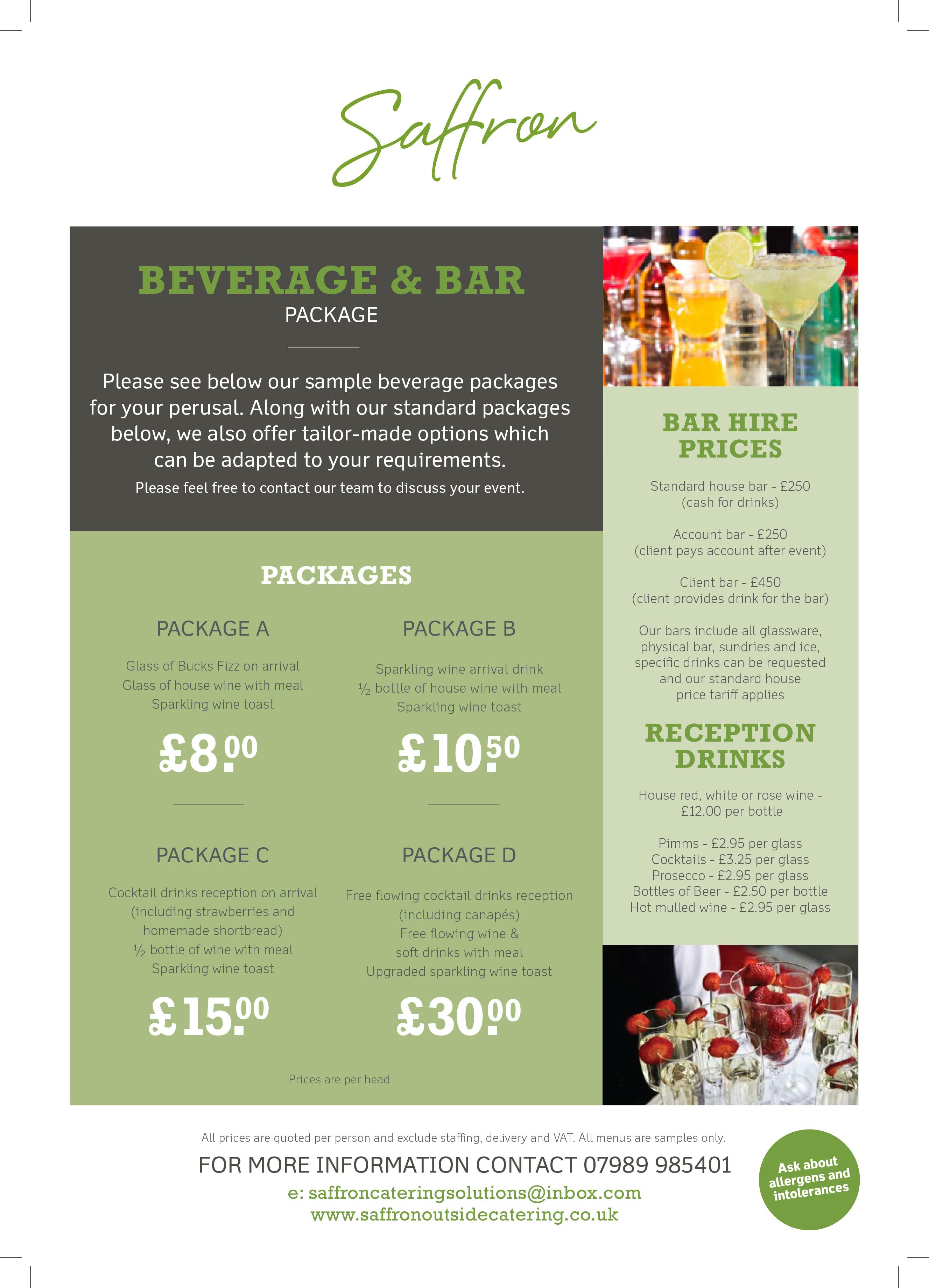 Beverage and Bar Menu