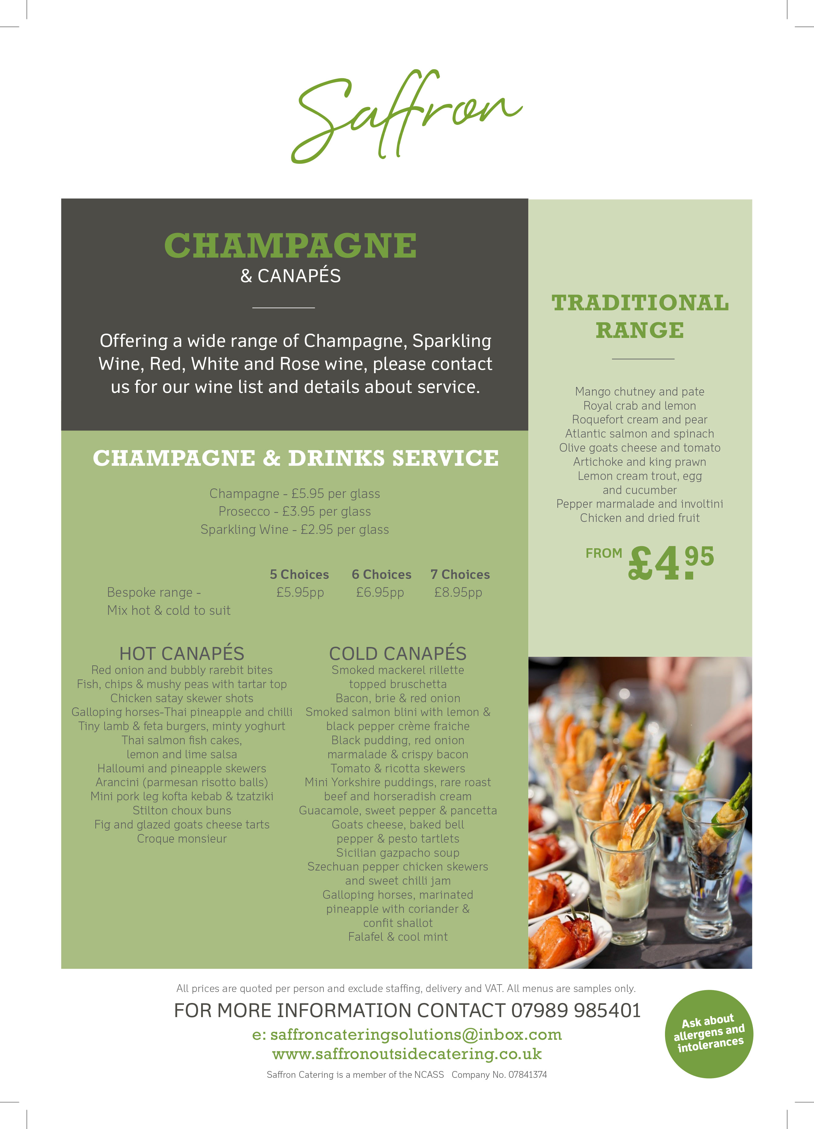 Champagne and Canapes Menu