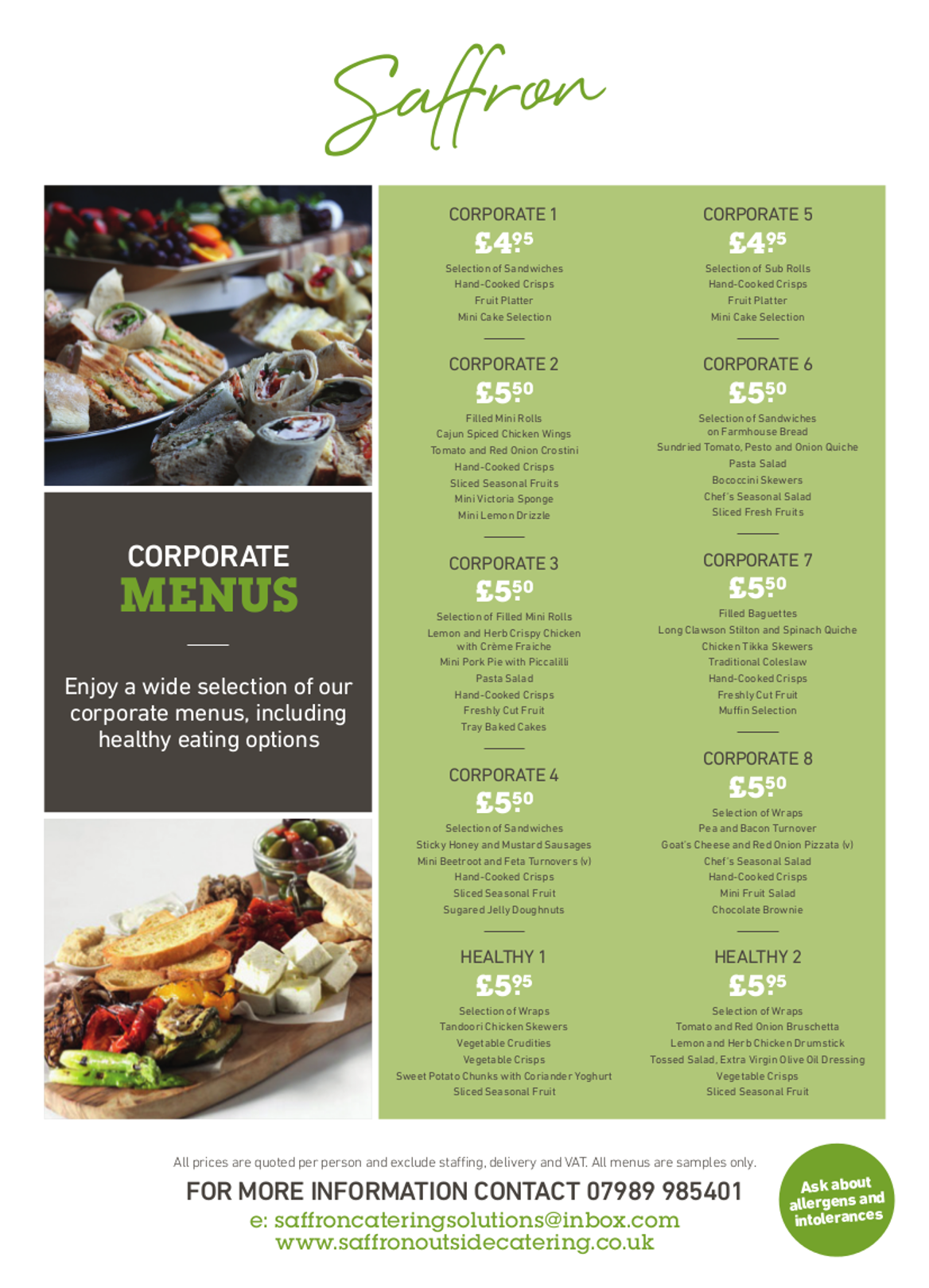 corporate lunch full - Corporate Lunch Menu